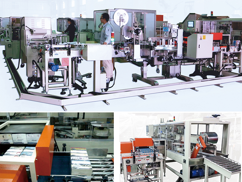 C13. Case packer production line for tissue box/ shrink/ labeling/ case packer