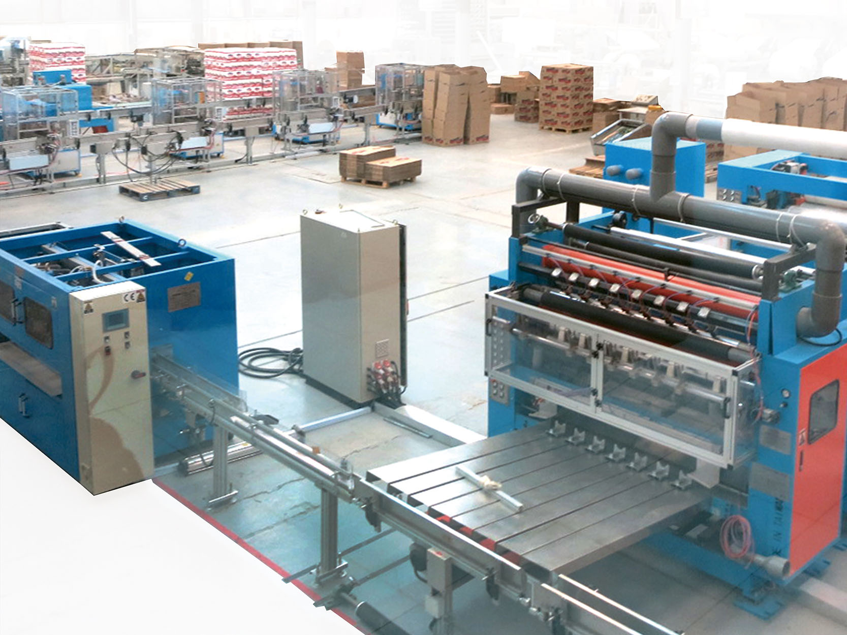 C15. Automation production line converting/Logsaw/Wrapping/ Packing/ pusher/conveyor system/accumulator